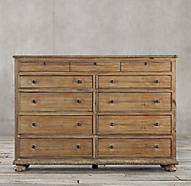 French Empire 11-Drawer Dresser Antiqued Natural