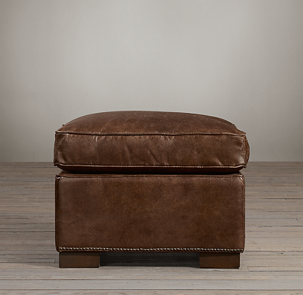 Collins Leather Ottoman With Nailheads