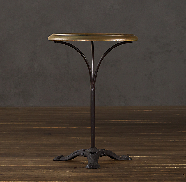 Circa 1900 French Brass Brasserie Table (Set of 2)
