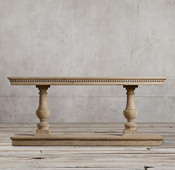 "60"" 15th C. Dual-Baluster Oak Console"