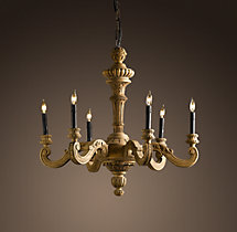 19th C. French Baroque Wood 6-Arm Chandelier Small