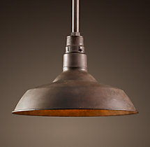 Vintage Barn Pendant Weathered Rust