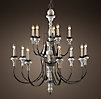 Parisian Wood & Zinc 13-Arm Chandelier