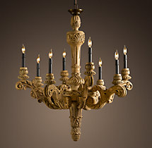 19th C. French Baroque Wood 8-Arm Chandelier