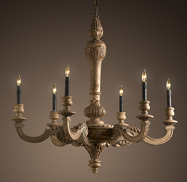19th C. French Baroque Wood 6-Arm Chandelier Large