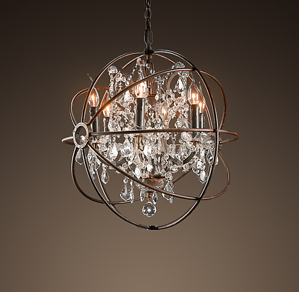 Foucault's Orb Crystal Chandelier Rustic Iron Small