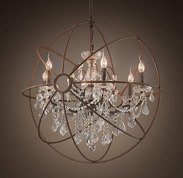 Foucault's Iron Orb Crystal Chandelier Rustic Iron Medium