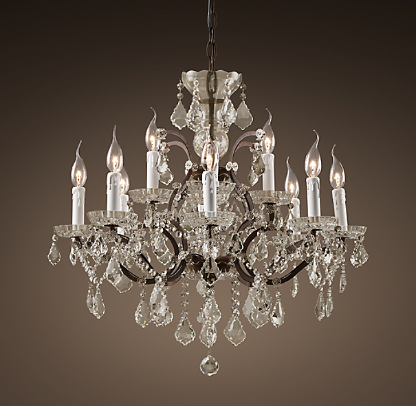"19th C. Rococo Iron & Clear Crystal Round Chandelier 26"" - Rustic Iron"