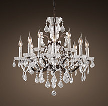 19th C. Rococo Iron & Crystal Chandelier Medium