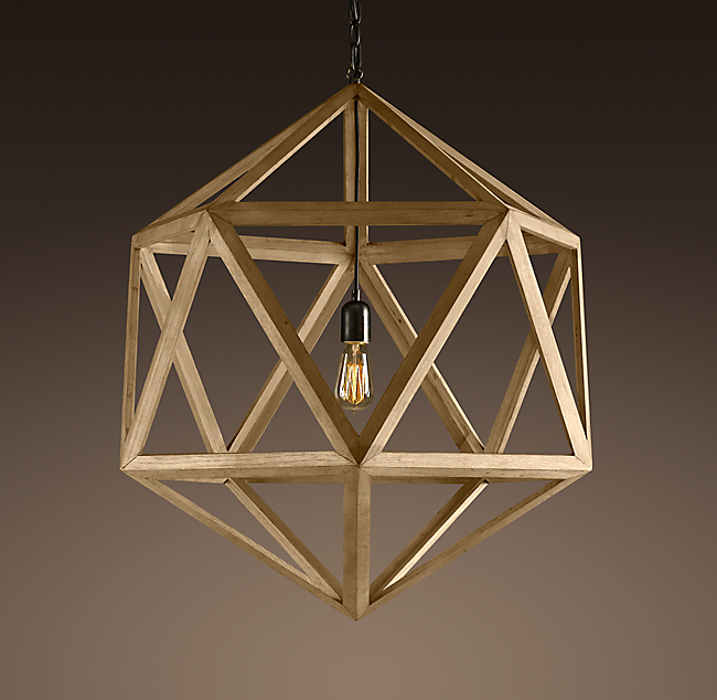 Wood Polyhedron Pendant Medium