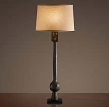 19th C. Iron Bell-Clapper Buffet Lamp