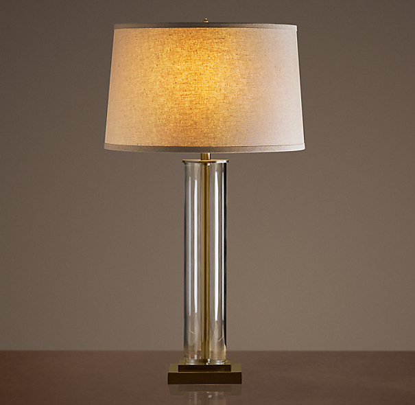 French Column Glass Table Lamp Antique Brass
