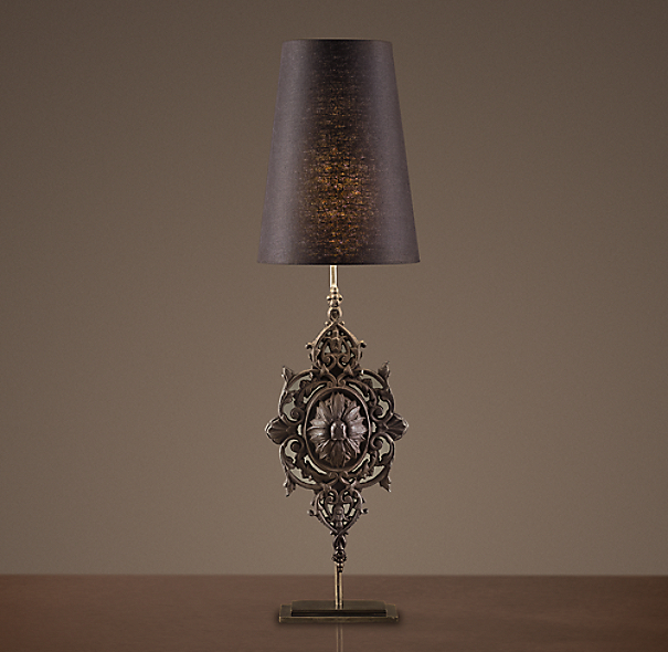 Floral Medallion Baluster Table Lamp