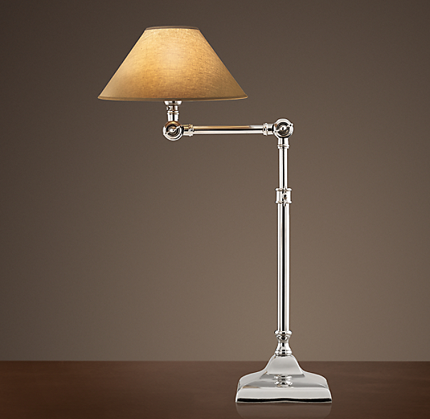 20th C. Parisian Telescoping Table Lamp Polished Nickel