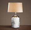 19th C. Vintage Mercury Glass Short Table Lamp