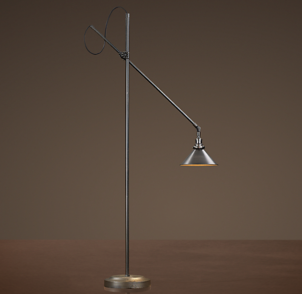 1900s Machinist Floor Lamp Aged Steel