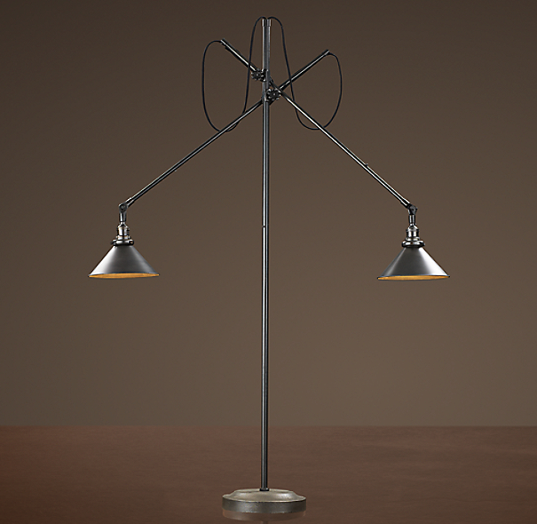 1900s Machinist Double Arm Floor Lamp