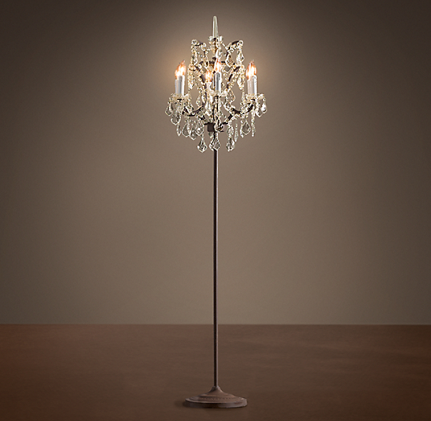 19th C. Rococo Iron & Crystal Floor Lamp