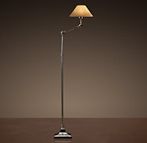 20th C. Parisian Telescoping Floor Lamp Polished Nickel