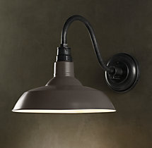 Vintage Barn Sconce Slate Grey