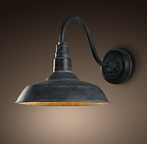Vintage Barn Sconce Weathered Zinc