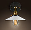 Milk Glass Filament Sconce Aged Steel