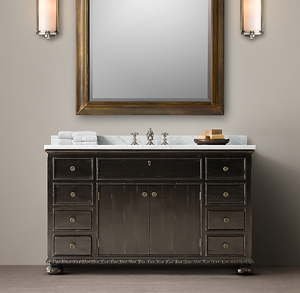 French Empire Extra-Wide Single Vanity Sink