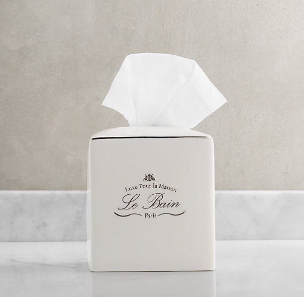 Le Bain French Porcelain Tissue Holder