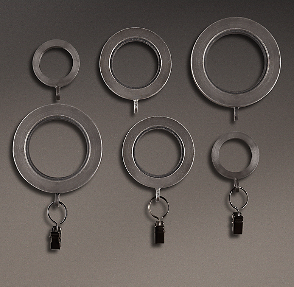 Industrial Hand-Forged Drapery Rings (Set of 7)