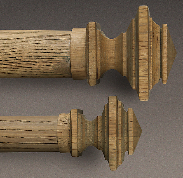 Estate Weathered Oak Square Finial Weathered Oak
