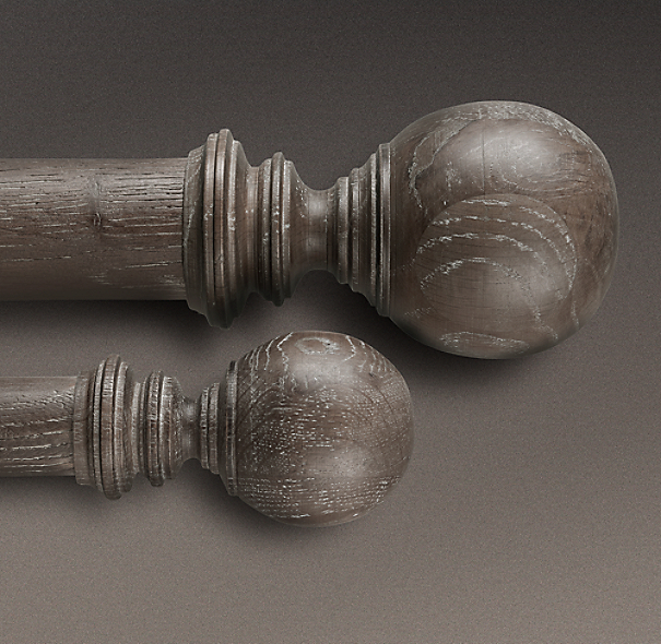 Estate Weathered Oak Ball Finial Burnt Oak