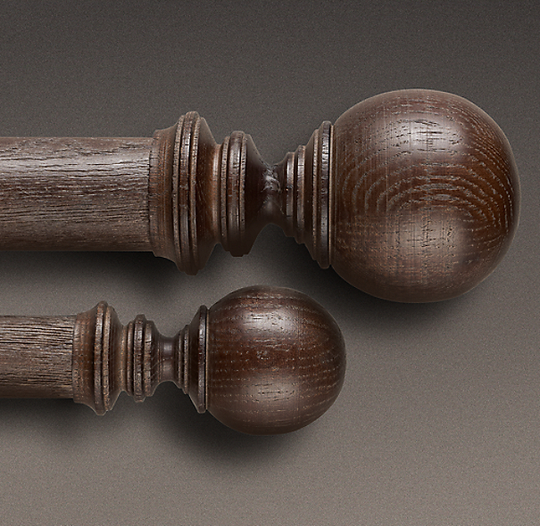 Estate Weathered Oak Ball Finial Brown Oak