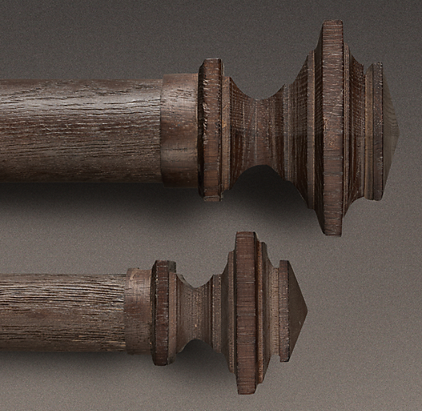 Estate Weathered Oak Square Finial  Brown Oak