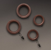 Estate Weathered Oak Drapery Rings (Set of 7) Brown Oak