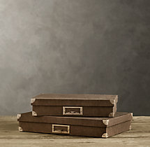 Linen Document Box Chocolate