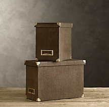 Linen Desktop File Box Chocolate