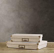 Linen Document Box Sand