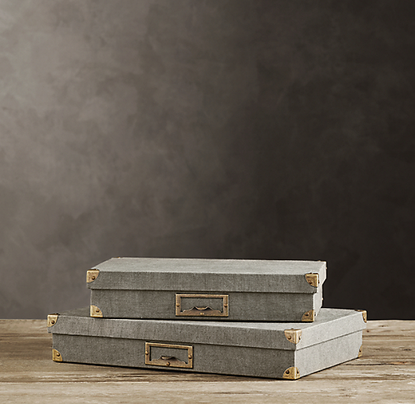 Linen Document Box Fog