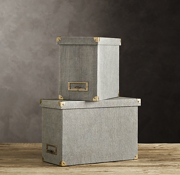 Linen Desktop File Box Fog