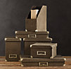 Linen Office Storage Accessories Chocolate