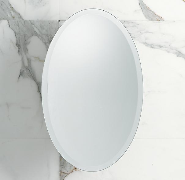 Frameless Oval Pivot Mirror