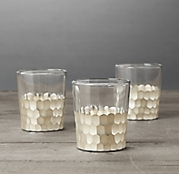 Faceted Metallic Votives - Silver (Set of 3)