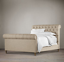 "56"" Chesterfield Fabric Sleigh Bed With Footboard"