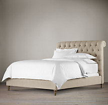 "56"" Chesterfield Fabric Sleigh Bed Without Footboard"