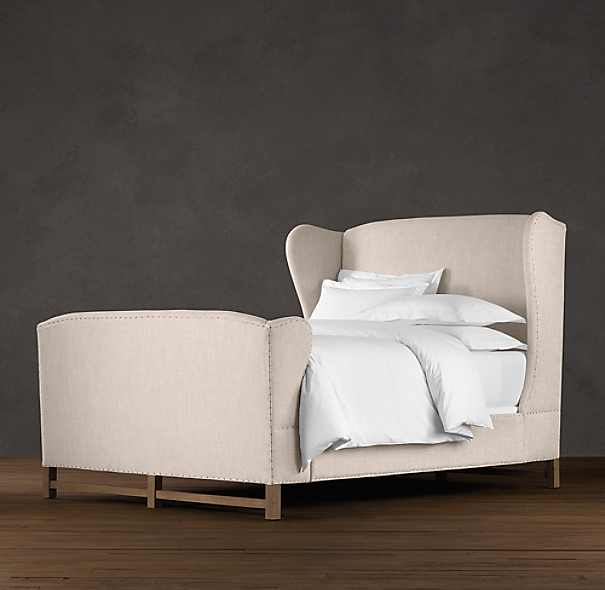 French Wing Upholstered Bed with Footboard