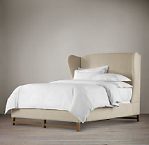 French Wing Fabric Bed Without Footboard