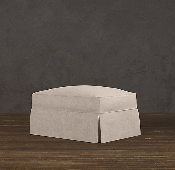 English Roll Arm Slipcovered Ottoman