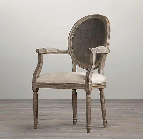 Vintage French Round Cane Back Upholstered Armchair