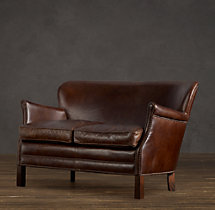 Professor's Leather Double Chair
