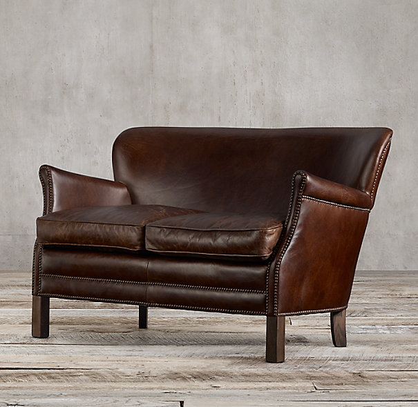 Professor 39 S Leather Double Chair With Nailheads